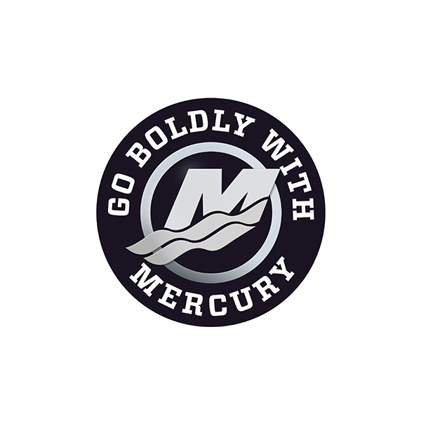 80mm GO BOLDLY WITH MERCURYステッカー ブラック 185552